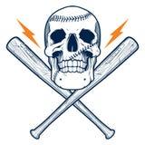 Cráneo con los bates de béisbol Foto de archivo libre de regalías