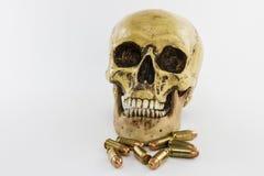 Cráneo con los cartuchos del arma imagen de archivo libre de regalías