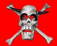 Cráneo con los claxones fotografía de archivo libre de regalías
