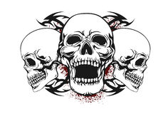 Cráneo con los elementos tribales stock de ilustración