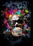 Cráneo con los vidrios, arte Foto de archivo libre de regalías