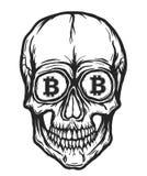 Cráneo con símbolos del bitcoin Fotos de archivo libres de regalías