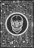 Cráneo con símbolos del bitcoin Imagen de archivo
