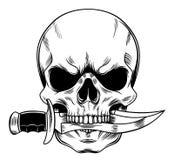 Cráneo con un cuchillo Fotografía de archivo libre de regalías