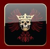 Cráneo coronado negro del resplandor en las alas rojas. Fotos de archivo