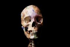 Cráneo cubierto en euros Imagen de archivo