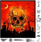 Cráneo de Grunge víspera de Todos los Santos Foto de archivo