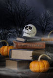 Cráneo de Halloween y libros viejos Imágenes de archivo libres de regalías