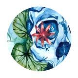 Cráneo de la acuarela con loto en el río Imágenes de archivo libres de regalías