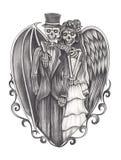 Cráneo de la boda de la fantasía del arte stock de ilustración