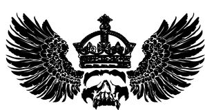 Cráneo de la corona en un ala. Fotografía de archivo libre de regalías