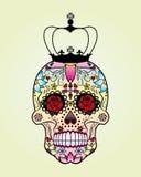 Cráneo de la flor del vector con la corona Imagen de archivo libre de regalías