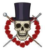 Cráneo de la historieta en sombrero del cilindro, con un bastón, un estoque y un corazón de rosas rojas Imagen de archivo
