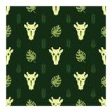 Cráneo de la jirafa en bosque abandonado ilustración del vector