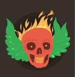 Cráneo de la sonrisa con el fuego y el ala verde Imagen de archivo