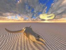Cráneo de la vaca y explosión nuclear en desierto libre illustration
