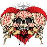 Cráneo de las tarjetas del día de San Valentín con el corazón Imagenes de archivo