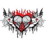 Cráneo de las tarjetas del día de San Valentín con el corazón Imagen de archivo