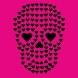 Cráneo de las tarjetas del día de San Valentín con el corazón Imágenes de archivo libres de regalías