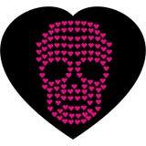 Cráneo de las tarjetas del día de San Valentín con el corazón Fotos de archivo libres de regalías