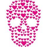 Cráneo de las tarjetas del día de San Valentín con el corazón Imagen de archivo libre de regalías
