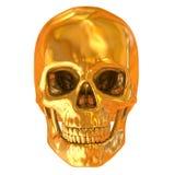 Cráneo de oro aislado Foto de archivo libre de regalías
