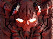 Cráneo de piedra grabado del demonio stock de ilustración