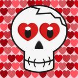Cráneo del amor de la tarjeta del día de San Valentín Fotografía de archivo