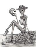 Cráneo del arte el día de la isla del festival muerto stock de ilustración