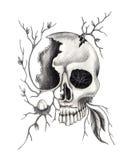 Cráneo del arte surrealista Fotos de archivo libres de regalías