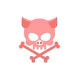 Cráneo del cerdo con los huesos Esqueleto principal del cerdo Logotipo para Halloween Foto de archivo