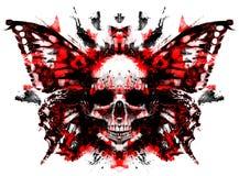 Cráneo del demonio con la mariposa stock de ilustración