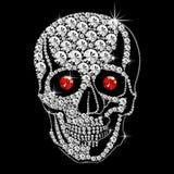 Cráneo del diamante con los ojos rojos ilustración del vector