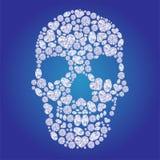 Cráneo del diamante en fondo azul Fotos de archivo