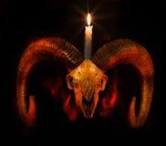 Cráneo del espolón con la vela encendida - taro Foto de archivo