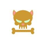 Cráneo del gato con los huesos Esqueleto principal de un gatito Logotipo, emblema para Fotografía de archivo