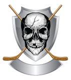 Cráneo del hockey con los palillos Foto de archivo