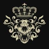 Cráneo del león Emblema heráldico Imagen de archivo libre de regalías