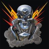 Cráneo del metall del vector con el motor Imagen de archivo libre de regalías