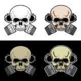 Cráneo del motorista con el pistón doble Imagen de archivo libre de regalías