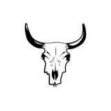 Cráneo del oeste salvaje de la vaca con los cuernos Ejemplo del clip art del vector aislado en blanco Fotografía de archivo