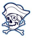 Cráneo del pirata aislado en el fondo blanco stock de ilustración