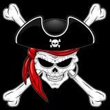 Cráneo del pirata con los huesos cruzados y ejemplo rojo del vector del pañuelo en fondo negro libre illustration