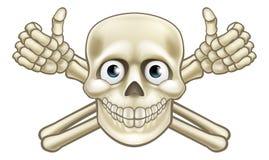 Cráneo del pirata de la historieta y pulgares de la bandera pirata para arriba Fotografía de archivo libre de regalías