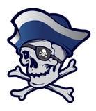 Cráneo del pirata en el fondo blanco Fotos de archivo