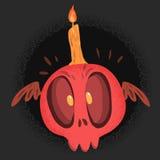 Cráneo del susto rojo con la vela ilustración del vector