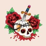 Cráneo del tatuaje Imagen de archivo libre de regalías