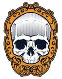 Cráneo del tatuaje en marco Imagenes de archivo