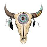 Cráneo del toro del ejemplo del vector Estilo étnico Fotos de archivo libres de regalías