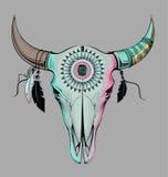 Cráneo del toro del ejemplo del vector Estilo étnico Imagen de archivo